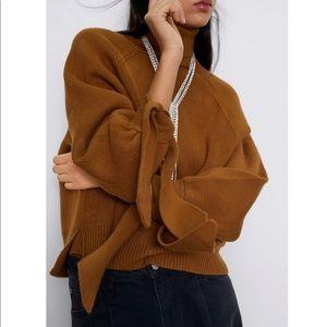 Zara camel knit turtleneck sweater with tie cuffs